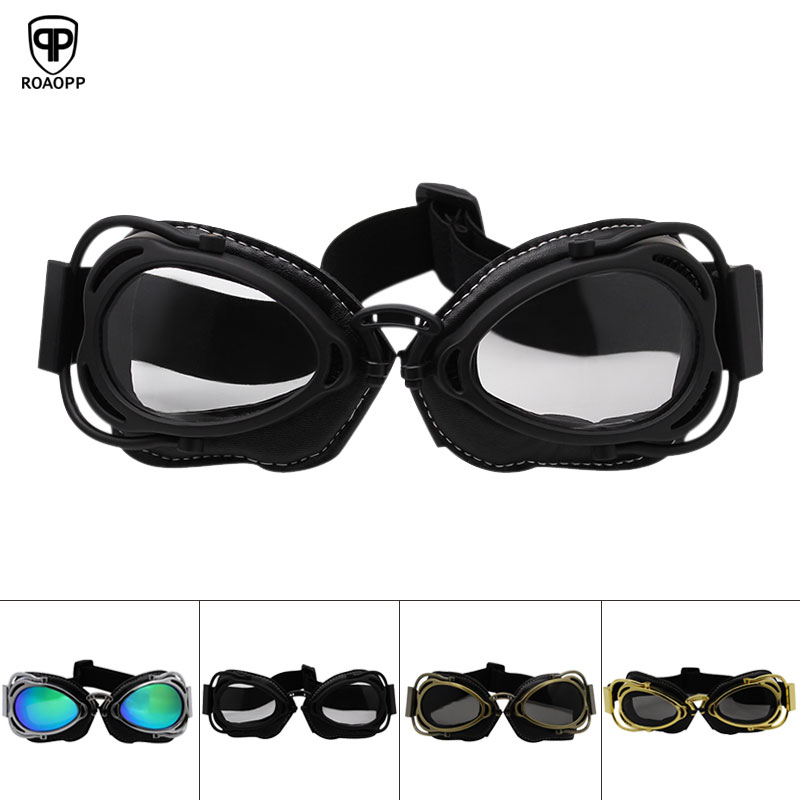 Roaopp Retro Motorcycle Goggles Helmet Steampunk Copper Flying Moto Glasses Vintage Pilot Biker Eyewear Goggles Protective Gear