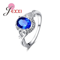 JEXXI Beautiful Blue Tone Crystal With Zirconia Rhinestone Sterling Silver Women Wedding Engagement Rings Christmas Love Gift