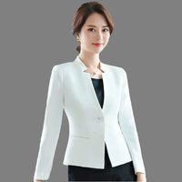 Black White Small Suit Jacket Female Long Sleeve 2019 Spring Autumn New Professional Wear Single Button Women Short Blazer LQ693