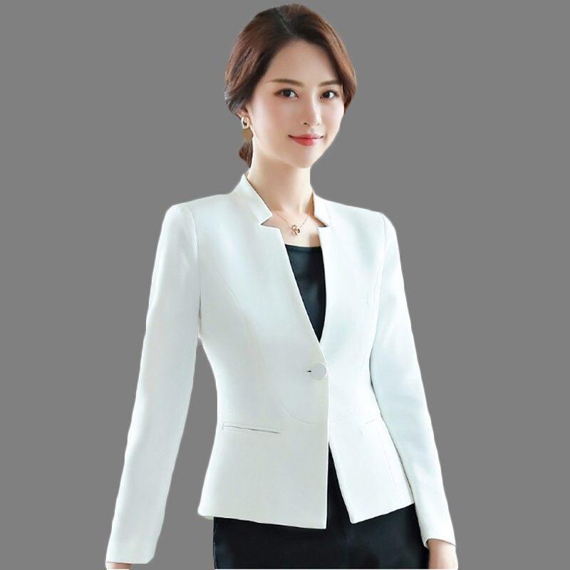 Black White Small Suit Jacket Female Long-Sleeve 2019 Spring Autumn New Professional Wear Single Button Women Short Blazer LQ693