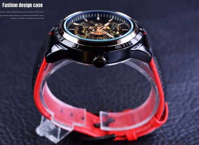 Forsining Motorcycle Design Transparent Genuine Red Black Belt Waterproof Skeleton Men Automatic Watches Top Brand Luxury Clock 3