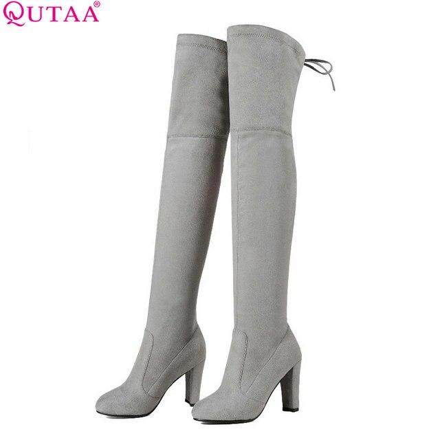QUTAA 2020 Kadın Diz Çizmeler Üzerinde Seksi PU deri Kare Yüksek Topuk Kadın Ayakkabı Kış Sıcak Motosiklet Botları Boyutu 34-43