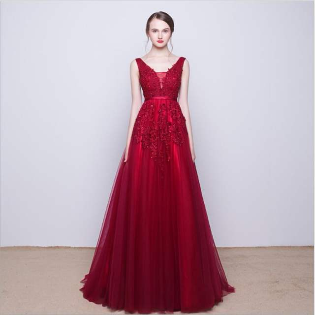 a95e5efc889 Navy Blue Pink Grey V Neck Long Lace Appliques Prom Dresses Tulle A Line  Gray Red
