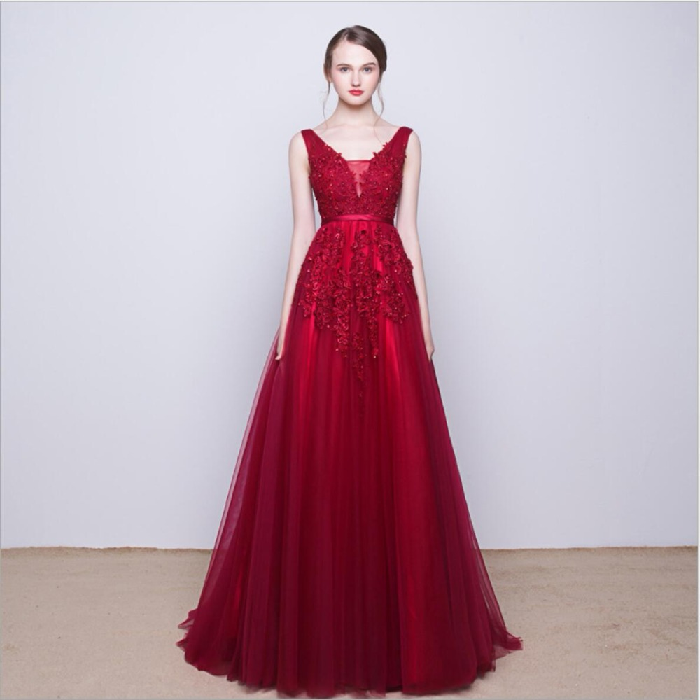 Navy Blue Pink Grey V Neck Long Lace Appliques   Prom     Dresses   Tulle A Line Gray Red Evening   Dress     Prom   Gown Real Photos DQG008