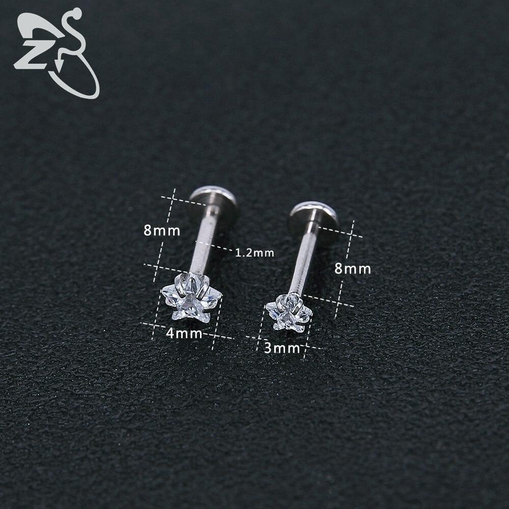 Stainless Steel Earring Studs Screw Earrings Girls Cubic Zirconia Cartilage Piercing Lip Studs Star Mini Earring Woman Jewellery 4