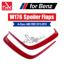 Fits For Mercedes Benz W176 ABS Red Rear Bumper Canards A-Class A180 A200 A250 A45 Look Air Dam Trimming body kits 2013-in