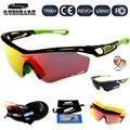 Queshark tour de france de ciclismo polarizada óculos de lente óculos de sol completa red revoed googles da bicicleta da bicicleta 4 par lens esporte óculos
