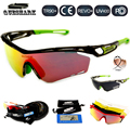 Queshark tour de francia ciclismo polarizadas gafas de sol roja llena revoed lente gafas de 4 par de bicicletas bicicletas lente gafas de deporte