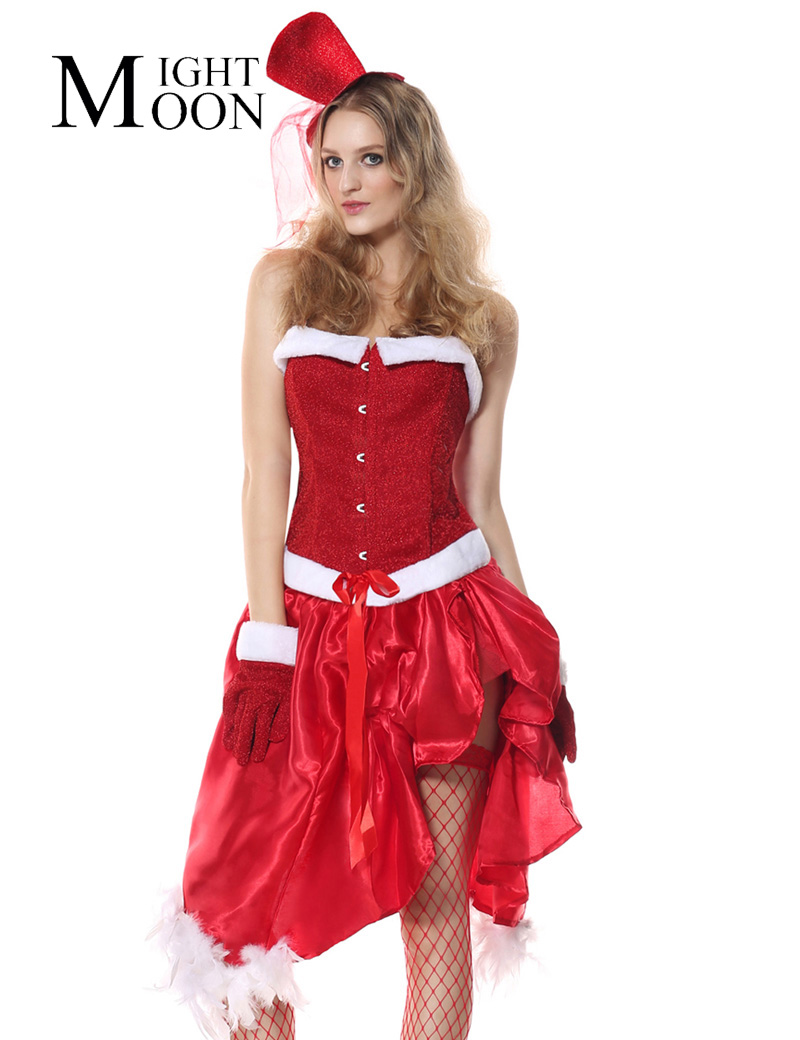 MOONIGHT Sexy Women's Santa Baby Christmas Costume Cosplay Red Halter Corset Halloween Body Shaper Adult Burlesque Corset Dress
