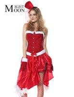 MOONIGHT Santa Baby Costume Natal Cosplay Vermelho das Mulheres Sexy Halter Espartilho Shaper Do Corpo do Dia Das Bruxas Adulto Burlesque do Espartilho Do Vestido