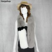Harppihop * חדש 2016 צבע חורף פרוות שועל סופר ג 'וקר קוריאני צעיף צווארון פרווה נשים צעיף צעיף פרוות שועל שיער ארוך 150 ס