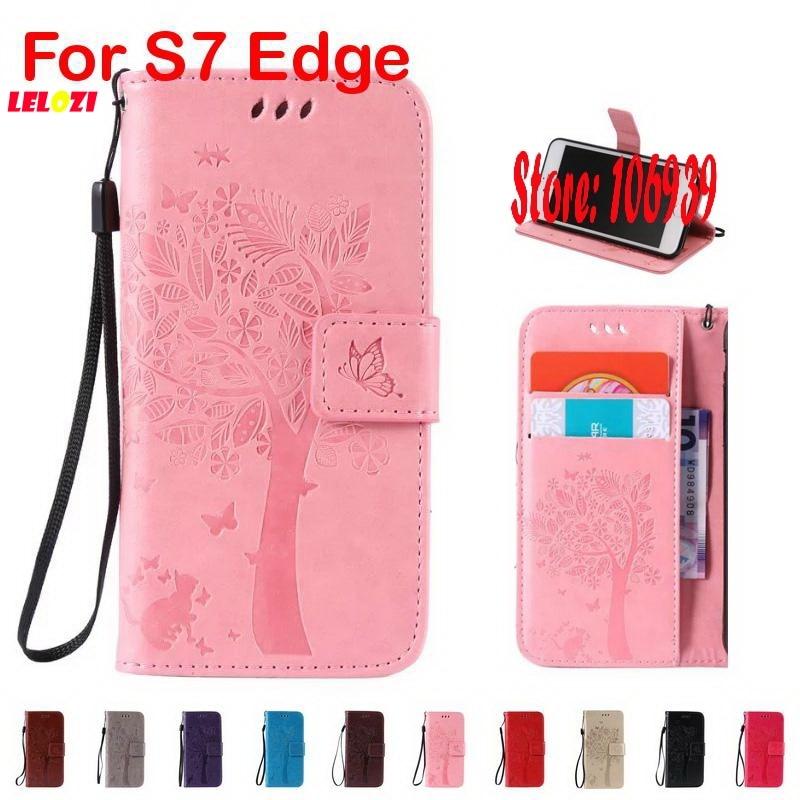 LELOZI Cheap Tree Star Cat Butterfly PU Leather Flip Wallet Wallt Case For Samsung Galaxy S7 Edge SM G935 G935F Purple Gold