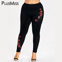 PlusMiss Plus Size 5XL Embroidery Floral Leggings Women Clothing Large Size Embroidered Skinny Leggins Pants Capri