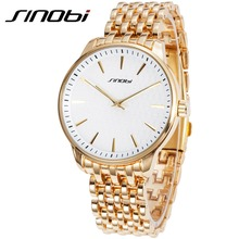 SINOBI New Fashion Men's Golden Wrist Watches Steel Watchband Top Luxury Brand Males Geneva Quartz Clock Erkekler Izle 2017 G16