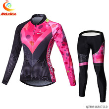 Malciklo 2017 Autumn Spring Pink&Black Cycling Jersey Women/Ropa Ciclismo Suit/Race Cycling Clothes/Bike Wear Cycling Clothing