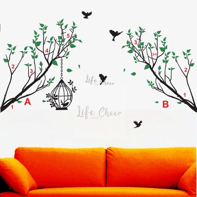 Oiseaux volants avec Branches arbre mur Art stickers amovible moderne coin Branches arbres vinyle mur autocollant maison moderne DecorAC204