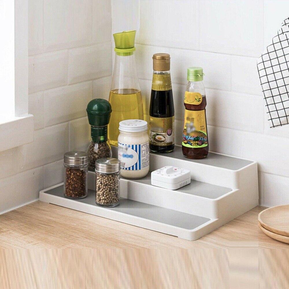 3Tiered:  Kitchen Seasoning Bottle Stepped Tiered Shelf 3-Tiered Spice Rack Desktop Classification Storage Shelf Cabinet Organizer - Martin's & Co