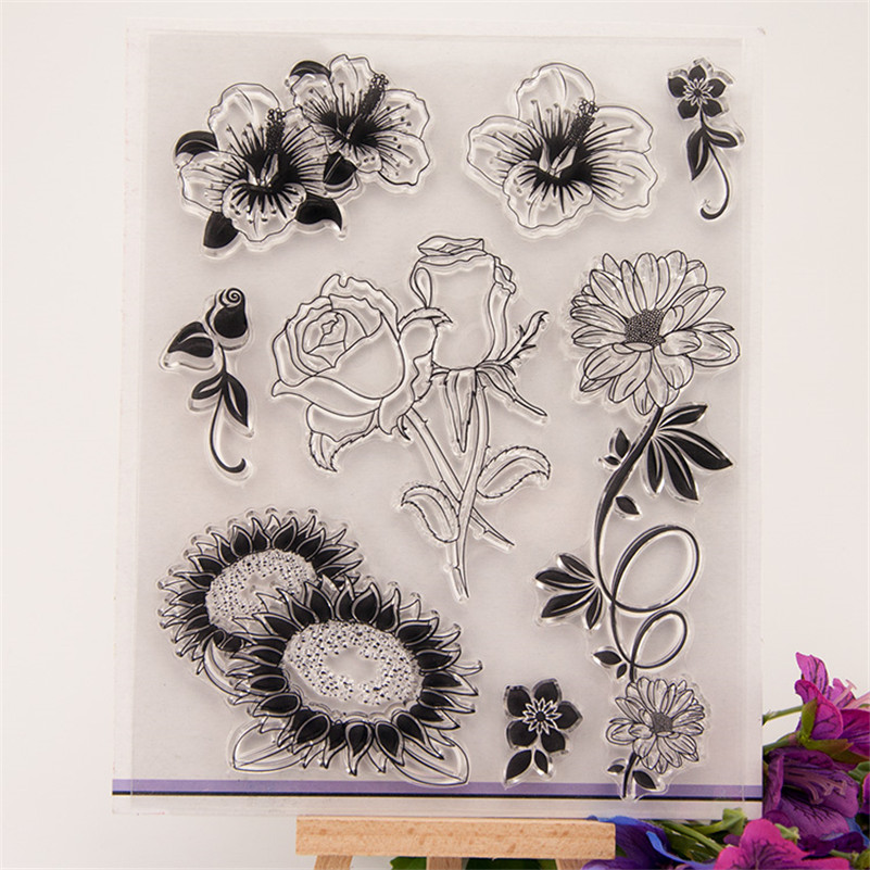 flowers scenery Transparent Stamp Variety Of Styles Clear Stamp For DIY Scrapbooking Photo Album wedding gift CC-089 flowers and lace design transparent clear silicone stamp seal for diy scrapbooking photo album wedding gift cl 083