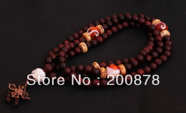 BRO813 Tibetan 108 beads Natural Red Rosewood Desinged Mala 8mm withconch shell,Tibet prayer beads rosary,Free ShippingBRO813 Tibetan 108 beads Natural Red Rosewood Desinged Mala 8mm withconch shell,Tibet prayer beads rosary,Free Shipping