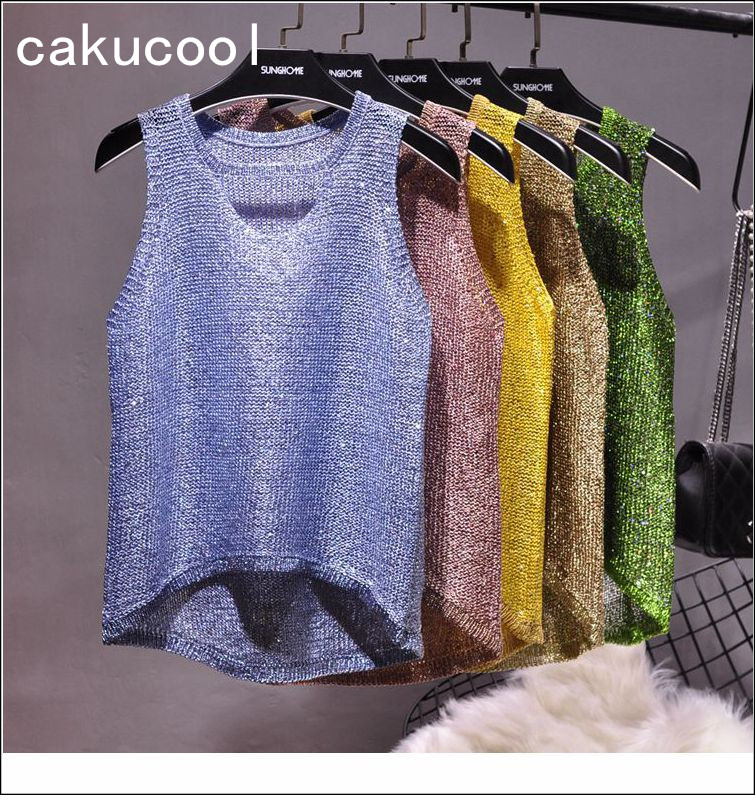 Cakucool New bling summer Glitter knit   Tank     Tops   Women sexy camisole Sequins gold Lurex sleeveless t shirt female camis 4 colors