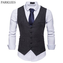 British Style Single Breasted Woolen Suit Vest Men 2018 Brand New Slim Fit Sleeveless Waistcoat Men Gentleman Dress Vests Gilet(China)