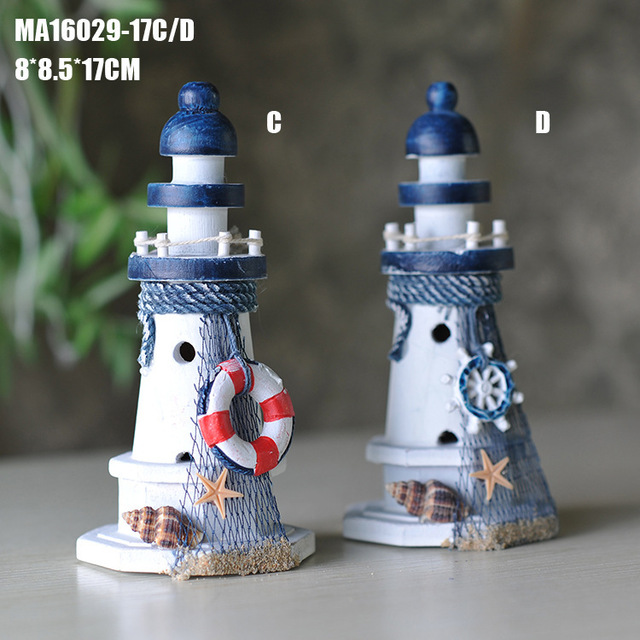 17-38 cm Mediterranean style Crafts Ornaments Lighthouse Wood Tower Rudder Lighthouse Nautical Home Decoration
