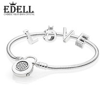 1b219c7db EDELL 100% 925 Sterling Silver Love RAU0486 CROWN CHARM LETTER 597092CZ  MOMENTS SMOOTH BRACELET WITH