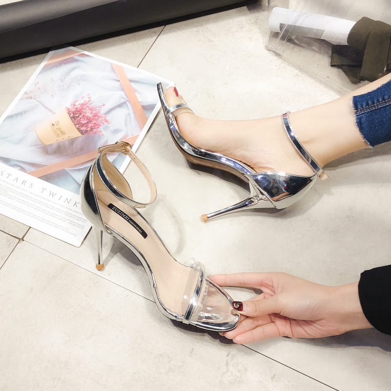 2019 summer new patent leather word buckle with color matching open toe sandals women's high heel stiletto women's shoes(China)