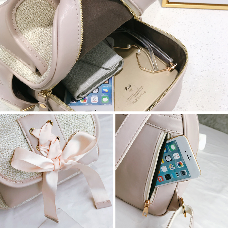 Beibaobao Fashion Simple Preppy Style Small Backpack for Teenage Girl Casual Schoolbag Silk Bow Design Shoulder Bag 6