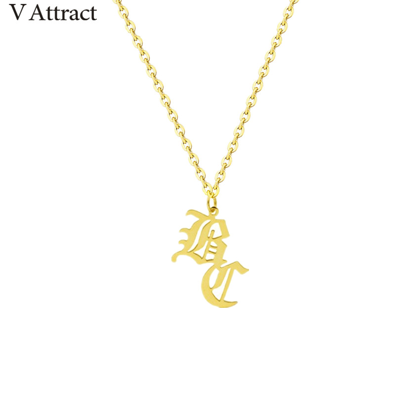 Unique Old English 2 Initial Necklace Gold Filled Personalized Name Statement Necklaces For Women Women Gothic Jewelry Christmas