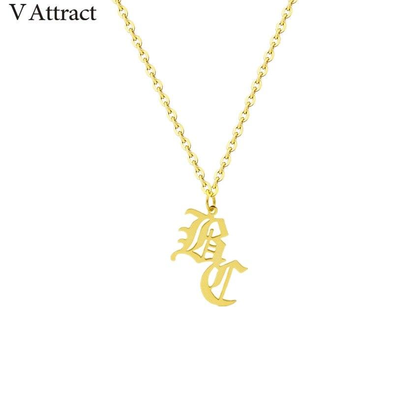 Einzigartige Alte Englisch 2 Initial Halskette Gold Gefüllt Personalisierte Name Erklärung Halsketten Für Frauen Frauen Gothic Schmuck Weihnachten
