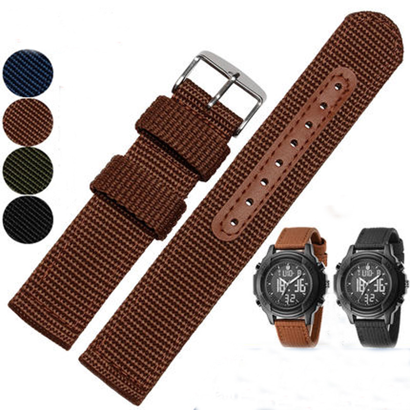 Hot Sales Military Army Nylon Fabric Canva Wrist Watch Band Strap 18/20/22/24mm 4 Color