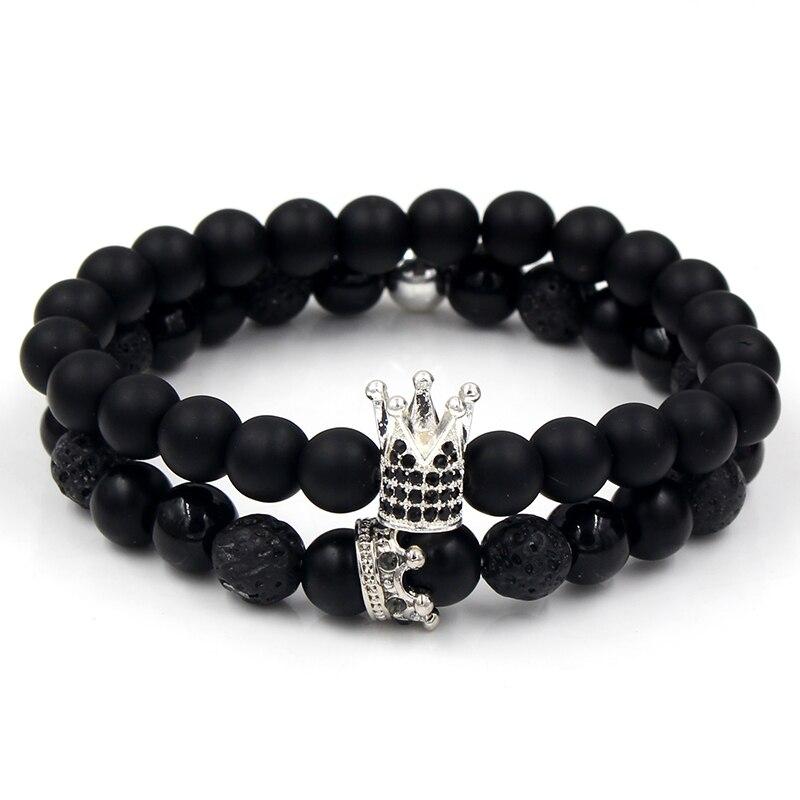 Bracelets assortis couple Roi et Reine couronne Black argenté