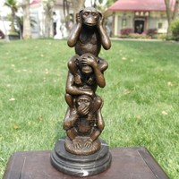 Copper sculpture crafts three monkey animal sculpture art hotel brass decoration Home Furnishing Decor business gifts