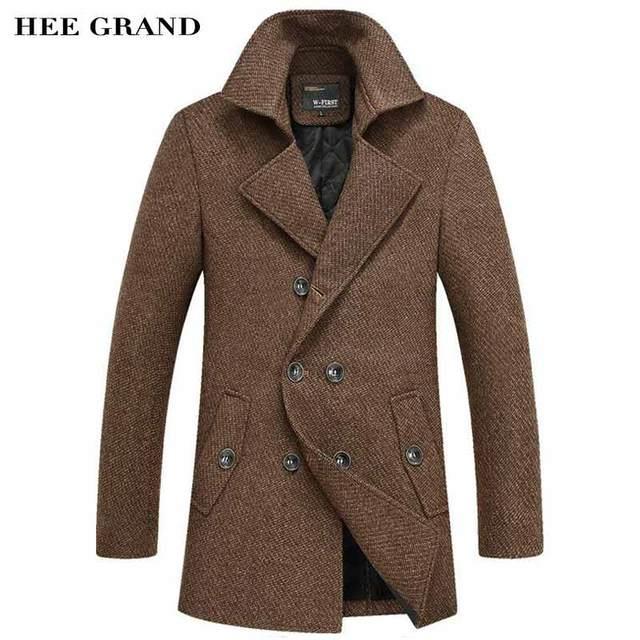 Hee grand homens moda grosso blends longo trecho decoração turn-down gola dupla breasted casaco de inverno plus size s-4xl mwn263