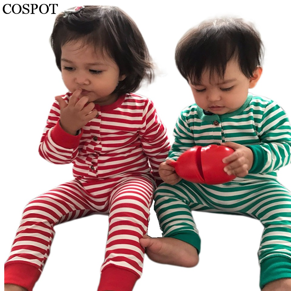 COSPOT Baby Girls Boys Christmas Rompers Boy Girl Striped Jumpsuits Kids Xmas Pajamas Newborn Fashion Harem Rompers 2017 New 30C 2015 new arrive super league christmas outfit pajamas for boys kids children suit st 004