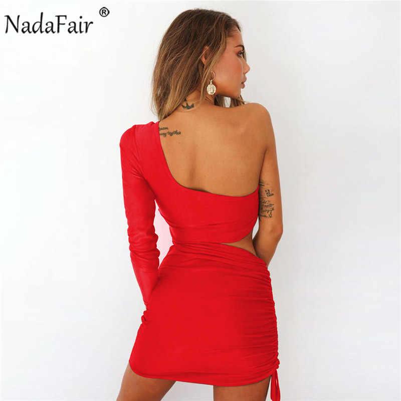 494b2cb0da0 ... Nadafair one shoulder solid sexy bodycon autumn dresses women wrap  ruched lace up mini winter dress ...