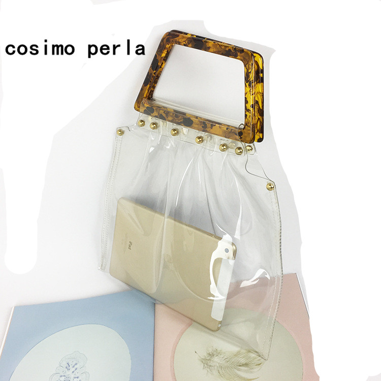 Retro Acrylic Handle Transparent Jelly Totes Brand Design Summer PVC Clear Handbag Satchel Travel Shopping Big Women Beach Bags