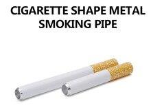 2Pcs/lot 78 MM Smoking Pipe Cigarette Shape Aluminum Alloy Tobacco Smoke Shisha Water