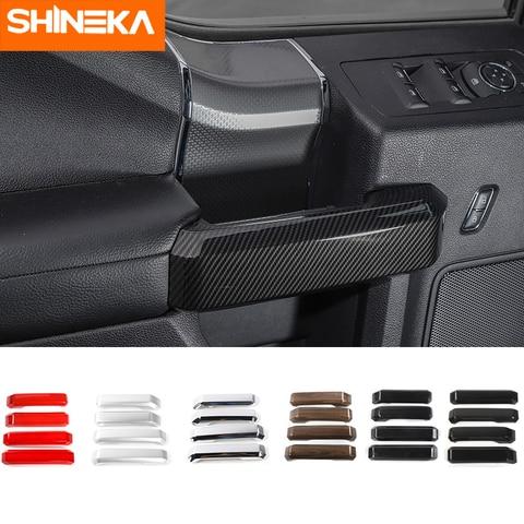 shineka estilo do carro abs interior macaneta da porta capa guarnicao tira adesivo kit para