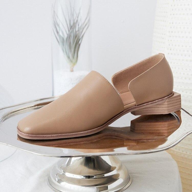 Sentent Plat Noir Chaussures Fond En kaki Recommandé Cuir 2019 Nouveau Confortable Sauvage Respirant Femmes Mode Pieds De Se aXXPAwqS