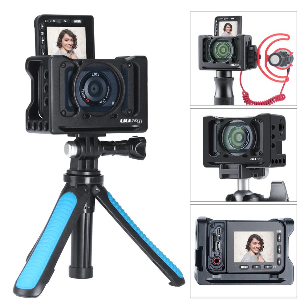 (In Stock) UURig For Sony RX0 II Mini Special Camera Cage, VLOG Selfie Hand Grip with Cold Shoe for Microphone Light