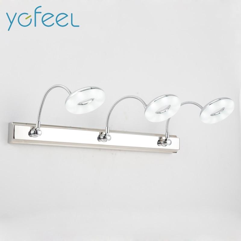 [YGFEEL] 9W LED Bathroom Mirror Wall Lamps Dresser Restroom Lighting Modern Simple Wall Light AC110V/220V 360 Degree Adjustment