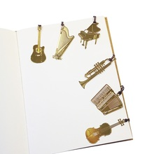 50 Pcs/lot Cute Kawaii Golden Metal Music Bookmarks Piano Guitar Trumpet Designs Book Marks Gifts