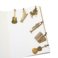 50ピース/ロットかわいいかわいいゴールデンメタル音楽ブックマークピアノギタートランペットデザインブックマークギフト