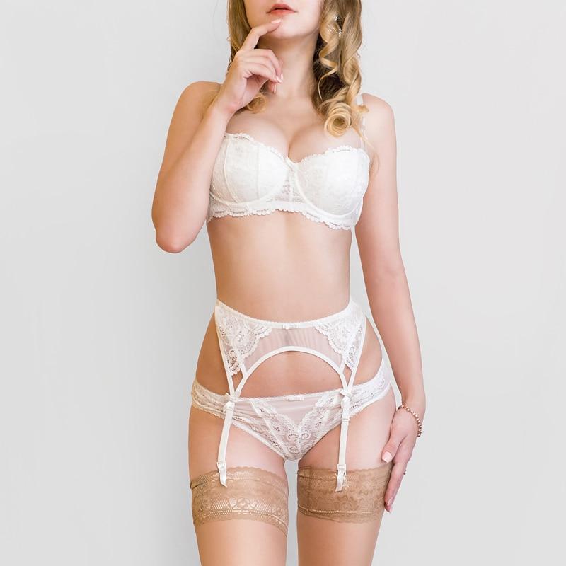 2f207327d8545 2018 new Design Garter+Bra+Panties thin cup Bra Set panties women's  Underwear Set Bra & brief Sets belt set lingerie Lace