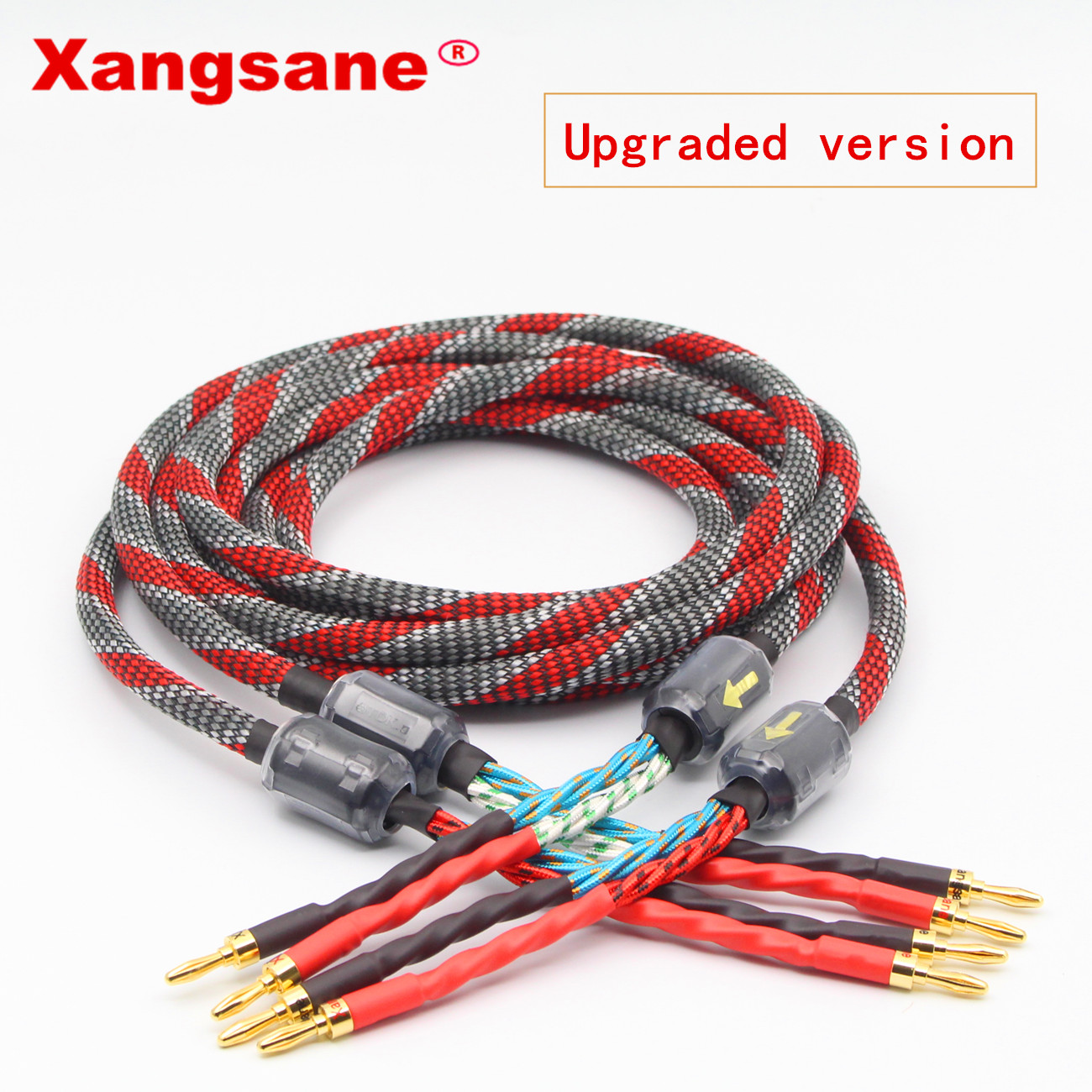 One Pair Xangsane  Oxygen-free Copper Audio Speaker Cable HI-FI High-end Amplifier Speaker Cable Banana Head Cable