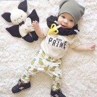 Hot Sale Summer 2pcs Newborn Infant Pineapple Letter Baby Clothes T Shirt Tops Pants Outfits Sets