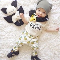 Hot Sale Summer 2pcs Newborn Infant Pineapple Letter Baby Clothes T Shirt Tops Pants Outfits Sets