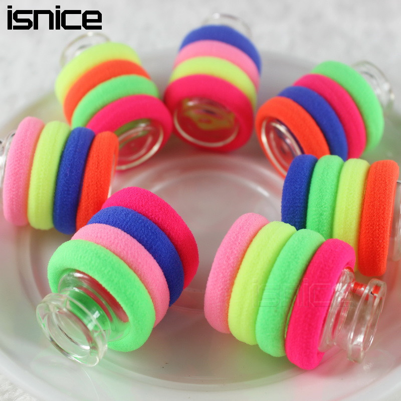 isnice 50pcs/lot For 0-6 Years Old Rubber bands Diameter 3cm Rainbow Color Gum For Hair hair accessories gum hair girl